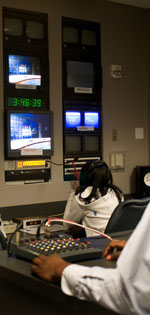 Students working in the studio control room